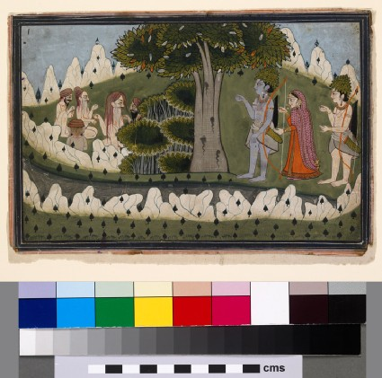 Rama, Sita, and Laksmana in a landscape with ascetics