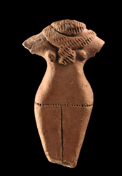 Fragmentary figure of a standing female with neck ornament