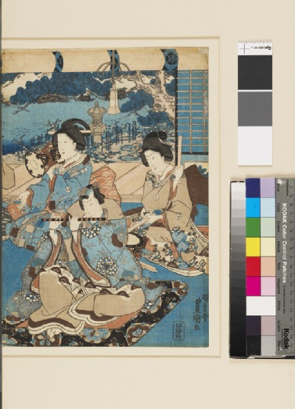 Prince Genji plays the flute, with musicians behind