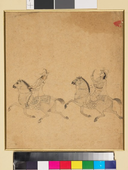 Man and woman on horseback