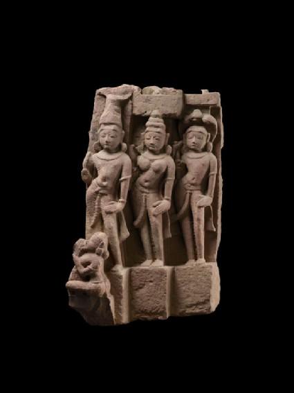 Fragment of a donor group possibly depicting Vasudeva, Subhadra, and Balarama