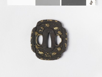 Mokkō-shaped tsuba with design of insects and flowers