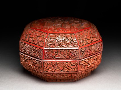 Octagonal box with flowers and a garden scene