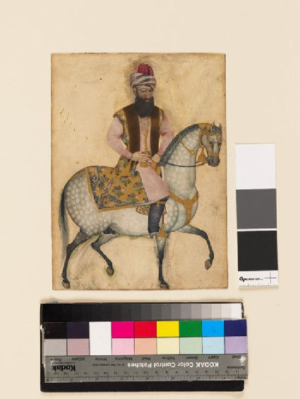 Portrait of Mu'izz al-Din Mustawfi Ghaffari on horseback