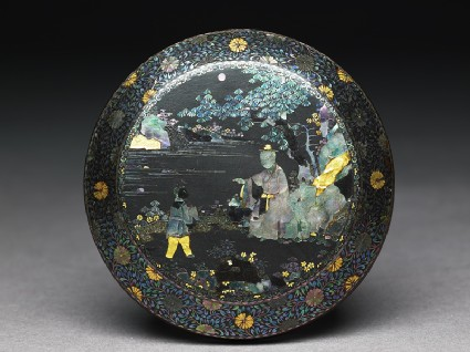Lacquered box with figures in a landscape