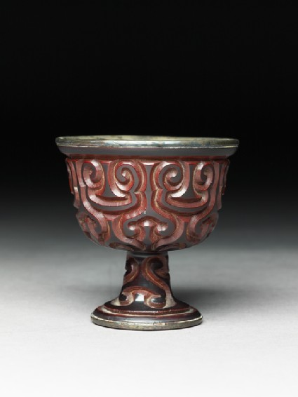 Lacquered stem cup with silver lining