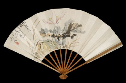 Fan with lotus flower