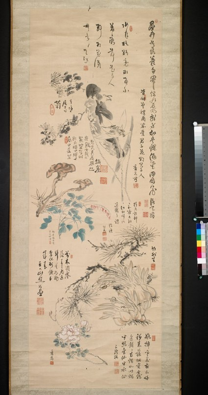 Flowers, plants, and calligraphy