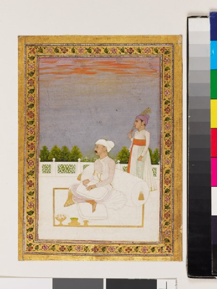 Nobleman, possibly Mir Qasim, seated on a terrace with attendant