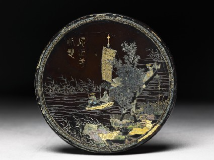 Lacquered disc with river scene