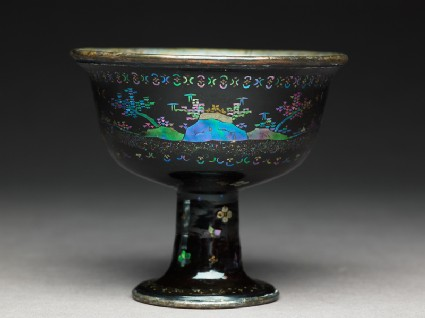 Stem cup with figures in a landscape