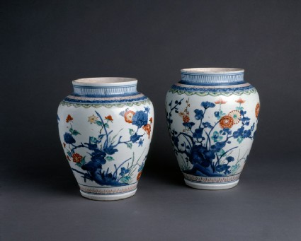 Baluster jar with floral decoration