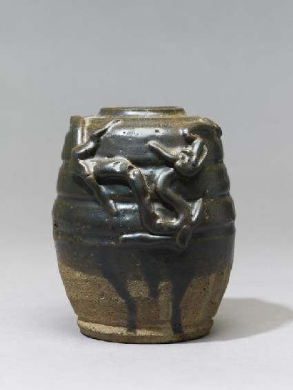 Dark brown glazed dragon jar