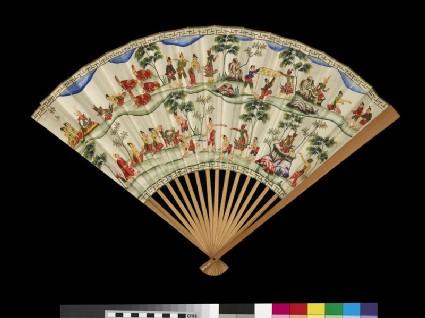Fan with scenes from the Vessantara Jataka in Burmese style