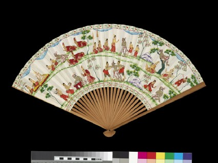 Fan with landscape in Nanga style, with scenes from the Vessantara Jataka in Burmese style