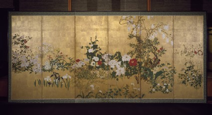 Screen with spring and summer flowers