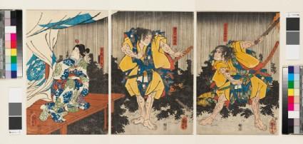 The Soga brothers and Tegoshi no Shōshō outside the tent of Kudo Suketsune