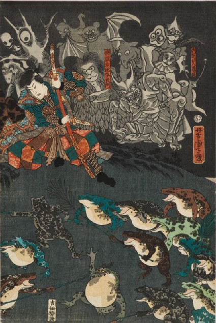 Nikushi the Frog Spirit Conjures up a Magical Battle of Frogs at Tateyama in Etchū Province