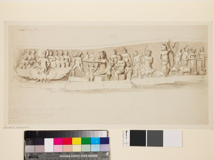 Drawing of lintel with figures in relief