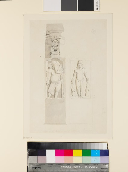 Drawing of temple column with panels depicting gods