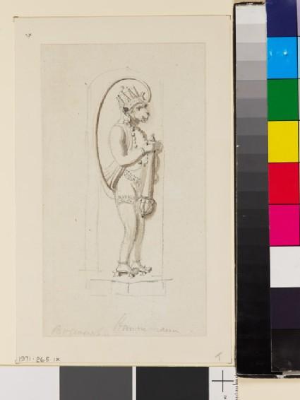 Drawing of relief of standing Hanuman