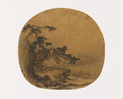 Man playing a qin beneath a pine tree