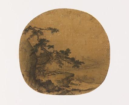 Man playing a qin beneath a pine tree