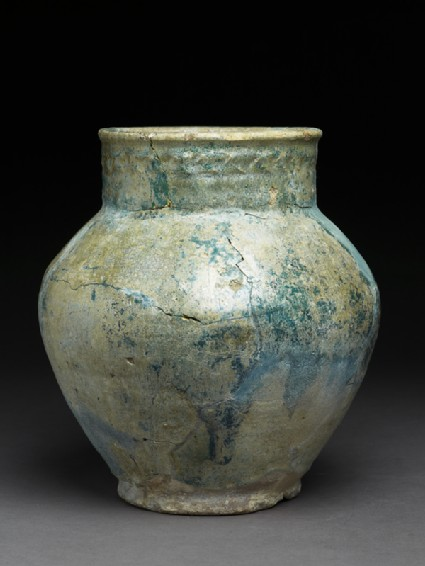 Storage jar with iridescent glaze