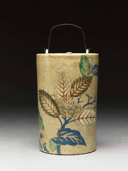 Sake bottle with leaves