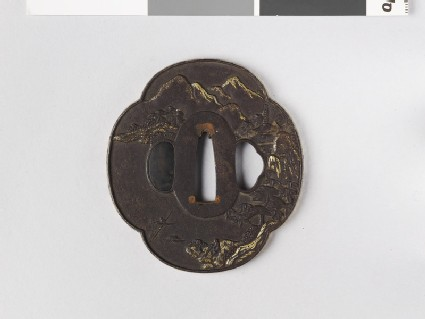 Mokkō-shaped tsuba with mountain village and fisherman