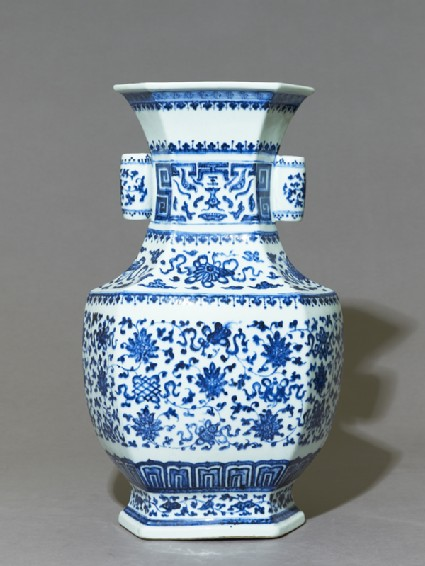 Blue-and-white hexagonal vase with floral decoration