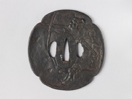 Mokkō-shaped tsuba with design of a Chinese archer