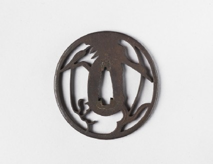 Round tsuba with design of goose and reeds