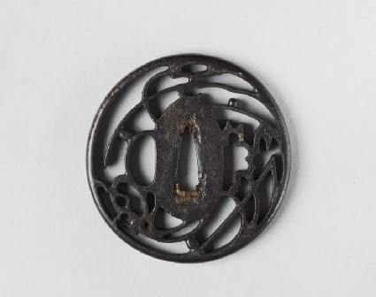 Round tsuba with design of cricket and grass