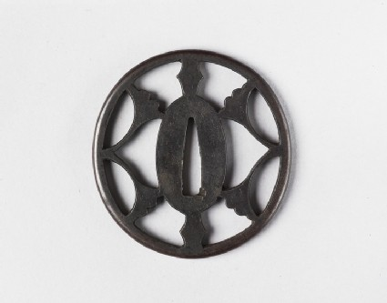 Round tsuba with design of ginko leaves