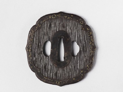 Mokkō-shaped tsuba with design of tree bark