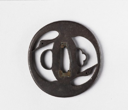 Round tsuba with design of geese