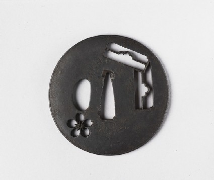 Round tsuba with design of blossom and two letterboxes