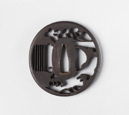 Round tsuba with design of wind, waves and a goose