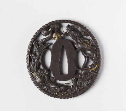 Round tsuba with design of clouds and dragons