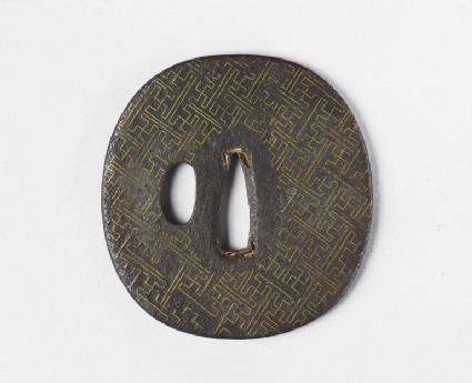 Round tsuba with rinzu, or swastika-fret diaper