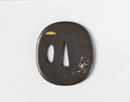 Round tsuba with design of two figures by the sea, sunset in background