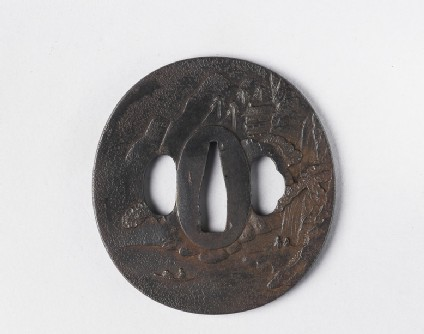 Round tsuba with design of figures in a mountain landscape