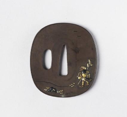 Round tsuba with design of a broom vendor