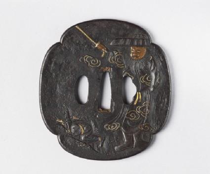 Mokkō-shaoed tsuba with design of Shoki chasing an oni