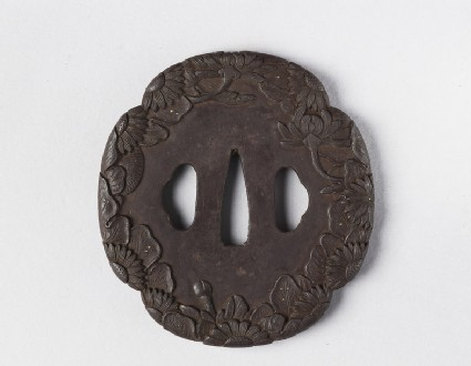Mokkō-shaped tsuba with design of chrysanthemums