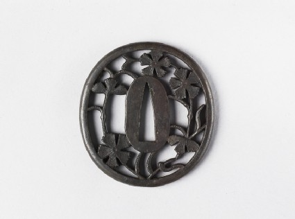 Round tsuba with design of nadeshiko flowers