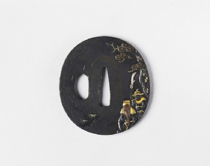Round tsuba with design of a sage and his attendant