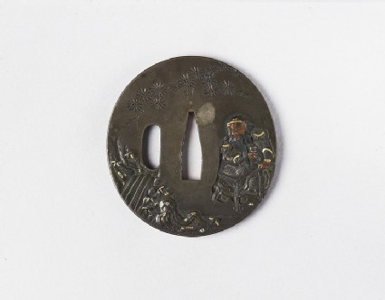Round tsuba with design of a Chinese sage, river and tree