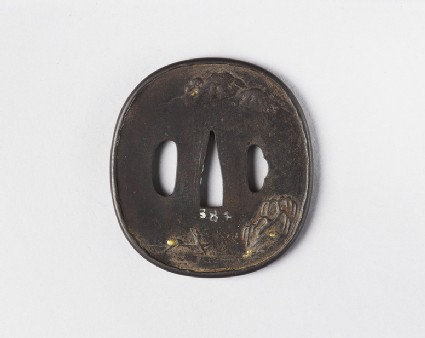 Round tsuba with design of fishermen and mountain landscape